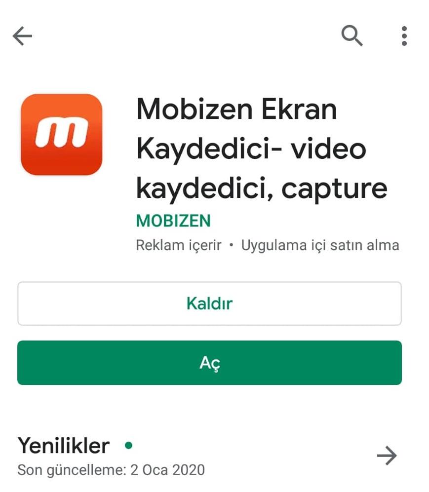 MOBIZEN Google Play Yükleme Ekranı