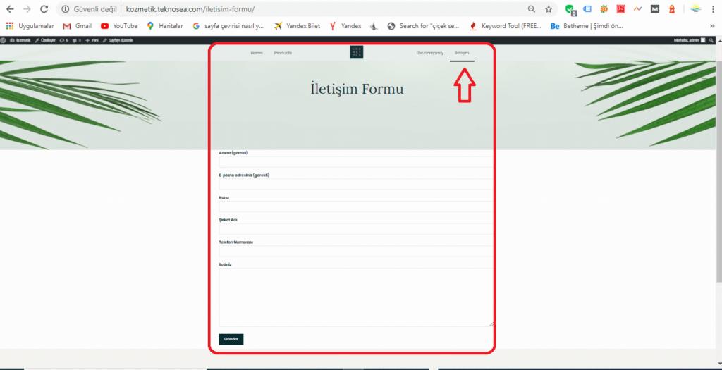 İletişim Formu Sayfası Sonraki Hali