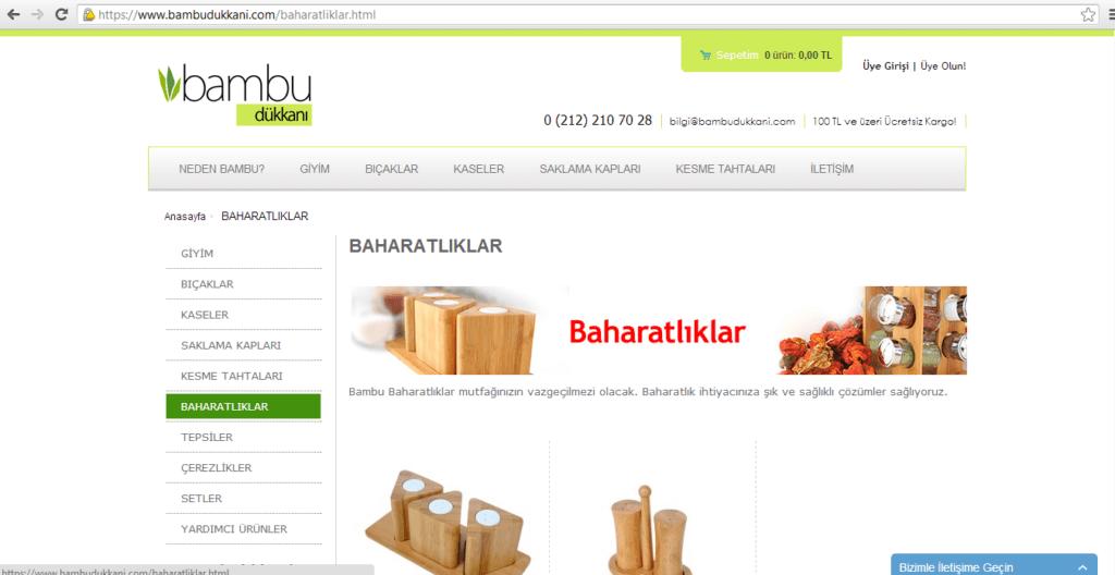 Şekil 2.5.www.bambudukkani.com ürün sayfası. e-ticaret