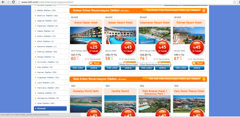 Şekil 2.7.www.tatil.com rezervasyon sayfası