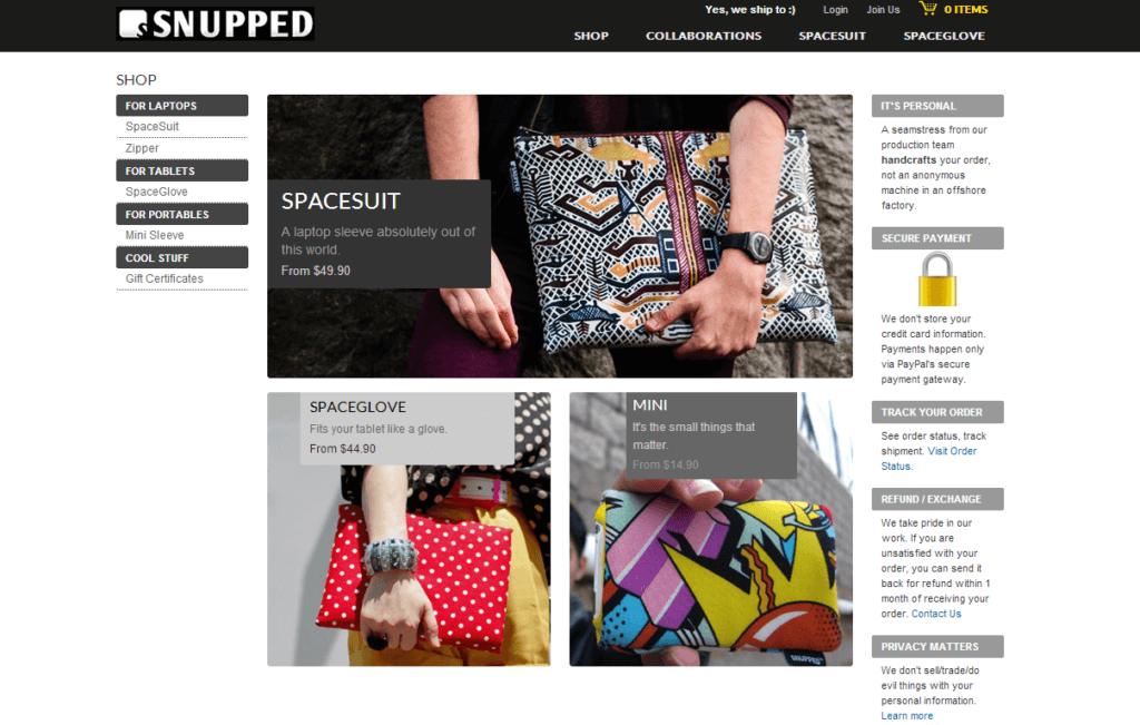 Şekil 3.26. snupped.com ürün sayfası e-ticaret