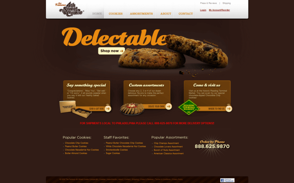 Şekil 3.3. www.famouscookies.com ana sayfası