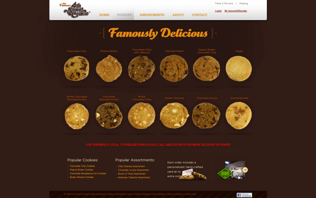 Şekil 3.4. www.famouscookies.com ürün sayfası
