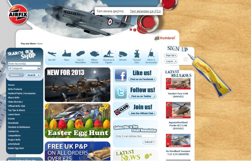 Şekil 3.7. www.airfix.com ana sayfası